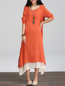 Tiered Asymmetrical Color-block Linen Maxi Dress