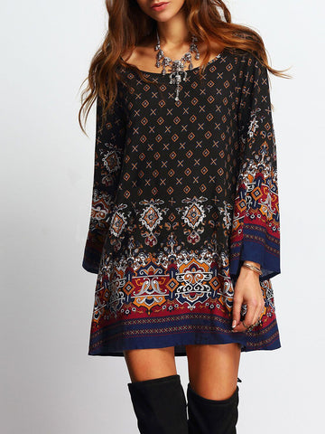 Bell Sleeve Crew Neck Boho Printed Holiday Mini Dress