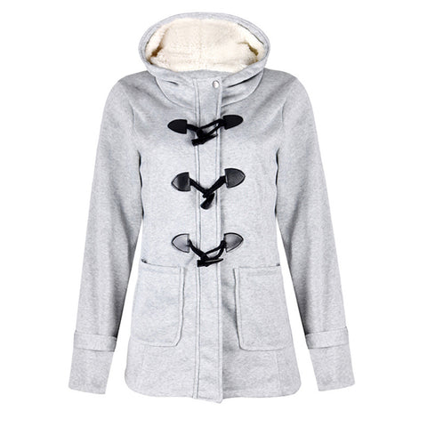 Daily Fleece-lined Buttoned Hoodie Long Sleeve Coat
