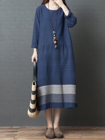 Casual Solid Long Sleeve Shift Midi Dress