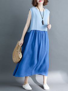 Blue Linen Crew Neck Casual Midi Dress