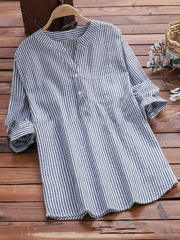 Casual Long Sleeve V Neck Printed Pockets Slightly Stretchy Blouse