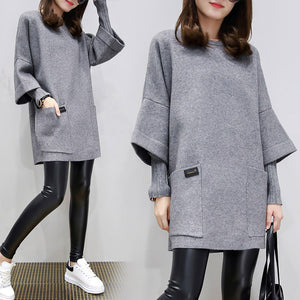 Casual Knitted Paneled Long Sleeve Plain Sweater