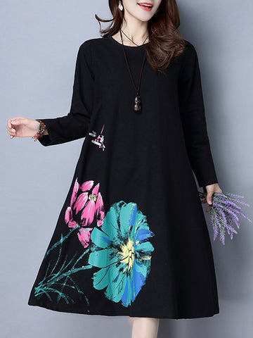 Shift Floral Casual Long Sleeve Midi Dress