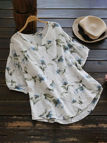 V neck Short Sleeve Casual Floral Plus Size Floral T-Shirt