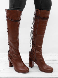 de8efcb4796 Vintage European Style Casual Lace-up Chunky Heel Boots