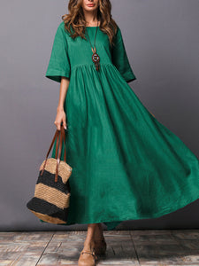A-line Pockets Solid Linen Half Sleeve Midi Dress