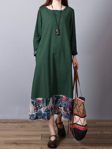 Linen Long Sleeve Paneled Casual Midi Dress