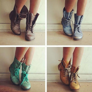 Women Casual Comfort Lace Up Boots