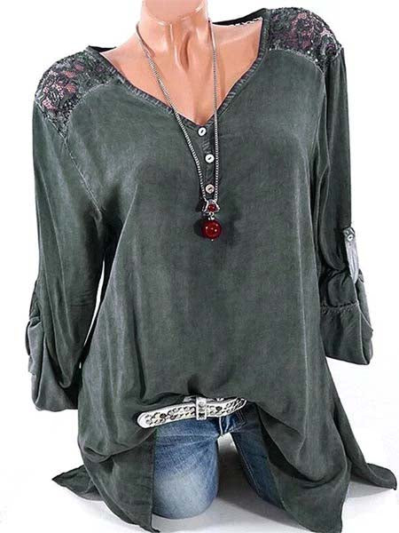 Long Sleeve Solid Basic V neck Buttoned Blouse