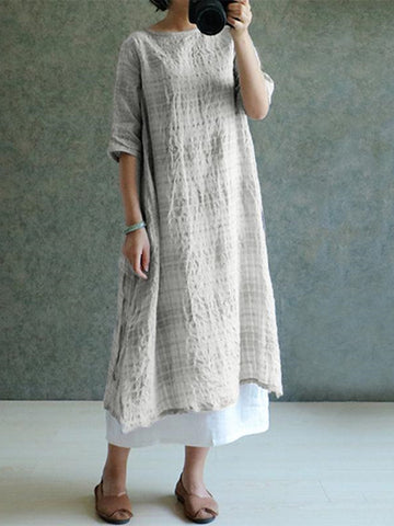 3/4 Sleeve Casual Plaid Linen Crew Neck Slightly Stretchy Maxi Dress