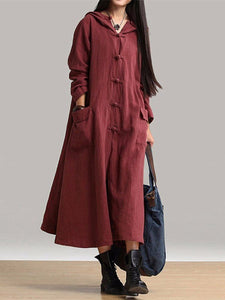 Plus Size Vintage Coat Solid Pockets Fall Long Sleeve Maxi Dress