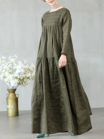 Long Sleeve Vintage Crew Neck Solid Maxi Dress
