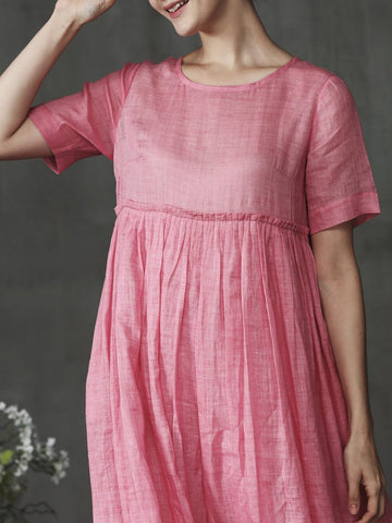 Solid Shift Crew Neck Short Sleeve Solid Daily Maxi Dress