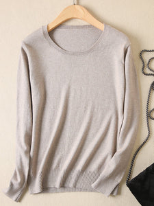Pure Cashmere Pullovers Pull Casual Round Collar Thicken Sweater