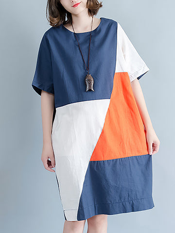 Vintage Casual Short Sleeve Shift Color-block Midi Dress