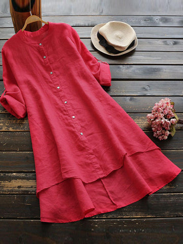 Casual Women Loose Irregular Hem Long Sleeve Button Blouse