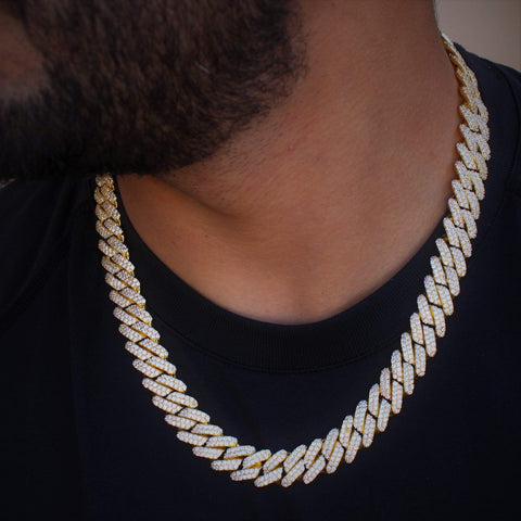 Cuban Link Chain Cz Diamond Yellow Gold 12mm GSG