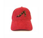 APOLI Red Ultra Suede Hat W/ Gold Logo Cheetah Print Leather Pony Hair