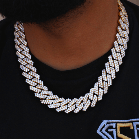 19MM Cuban Link Yellow Gold Chain Big Clasp GSG