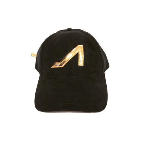 APOLI Black Ultra Suede Hat W/Gold Patent Leather Logo