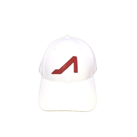 APOLI White Ultra Suede Hat W/ Red Logo