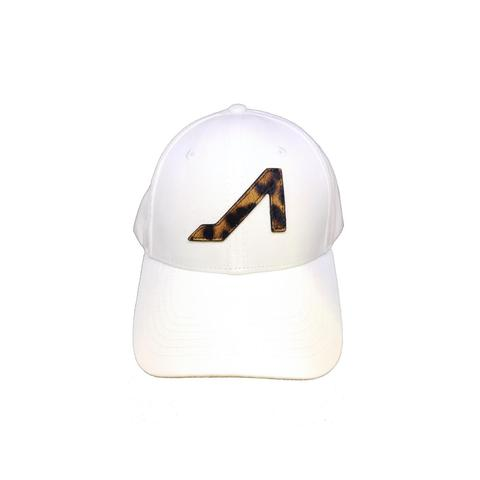 APOLI White Ultra Suede Hat W/ Cheetah Logo