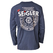 Load image into Gallery viewer, SEiGLER Fly Fishing Reels, Long Sleeve Navy T shirt, S thru XXL ,Wes Seigler, fishing shirt,