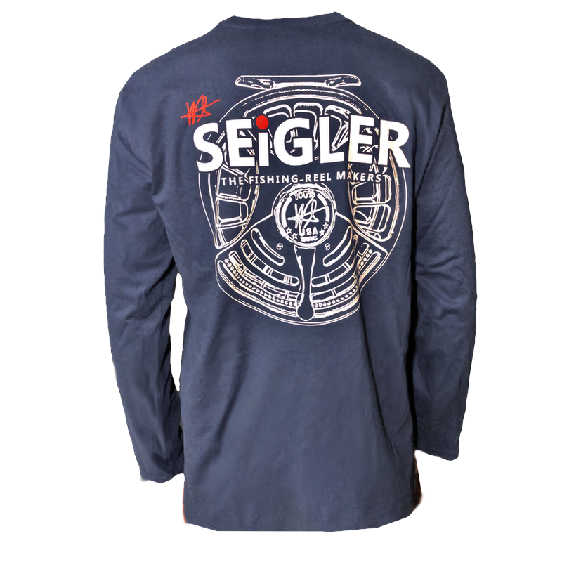 SEiGLER Fly Fishing Reels, Long Sleeve Navy T shirt, S thru XXL ,Wes Seigler, fishing shirt,