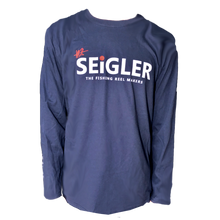 Load image into Gallery viewer, SEiGLER FLY Long Sleeve Cotton T-Shirt  When fit and feel matters!  Semi Fitted 100% Ring Spun Cotton Seamless Collar Hemmed Cuffs Size S, M, L, XL and XXL Color NAVY