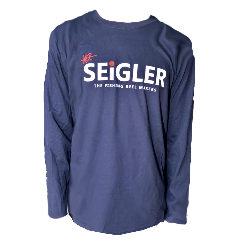 SEiGLER FLY Long Sleeve Cotton T-Shirt  When fit and feel matters!  Semi Fitted 100% Ring Spun Cotton Seamless Collar Hemmed Cuffs Size S, M, L, XL and XXL Color NAVY