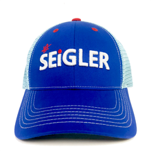 Load image into Gallery viewer, SEiGLER Fly Fishing Reels, Trucker cap, one size fits all, Wes Seigler, Blue fishing cap, Headwear