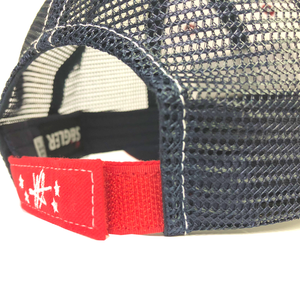 "SEiGLER Red White & Blue Trucker Cap  Our SEiGLER Six-panel trucker cap with White cotton front with a Red bill and Navy mesh back panels. Sewn SEiGLER Logo Patch on the front. Adjustable velcro  ""Old Glory"" Red"" back closure.  Black under the bill to reduce glare while on the water.   One size fits all"