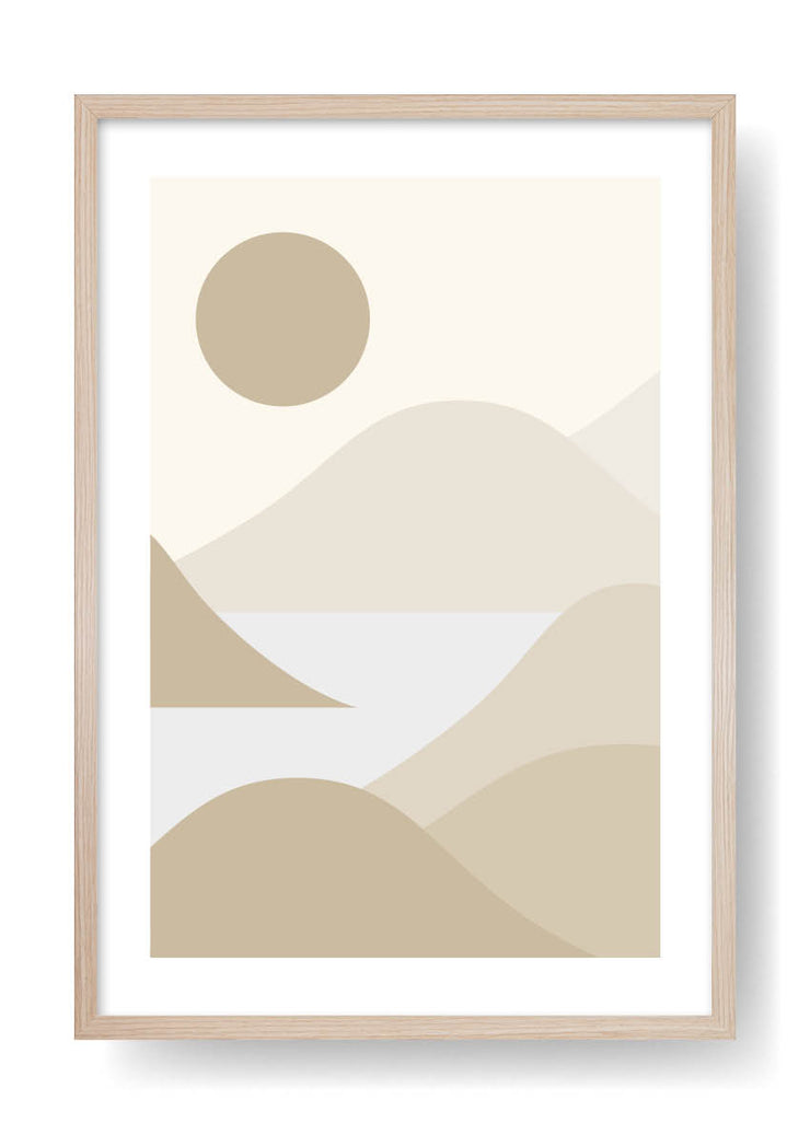 Minimal Brown Sea Mountains Art