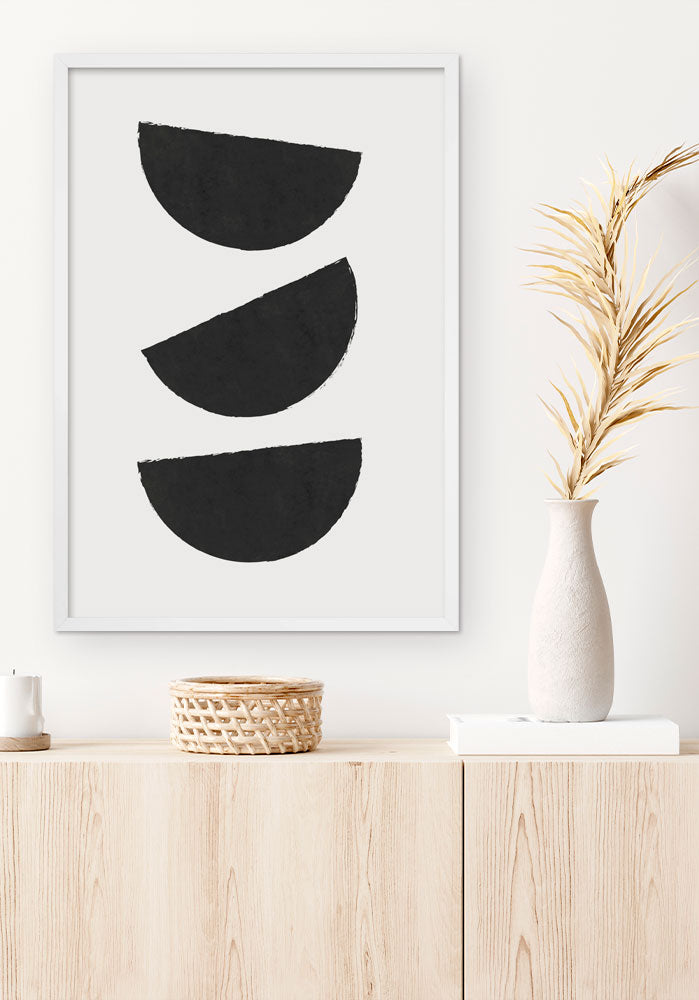 Black Three Moons Geo Art