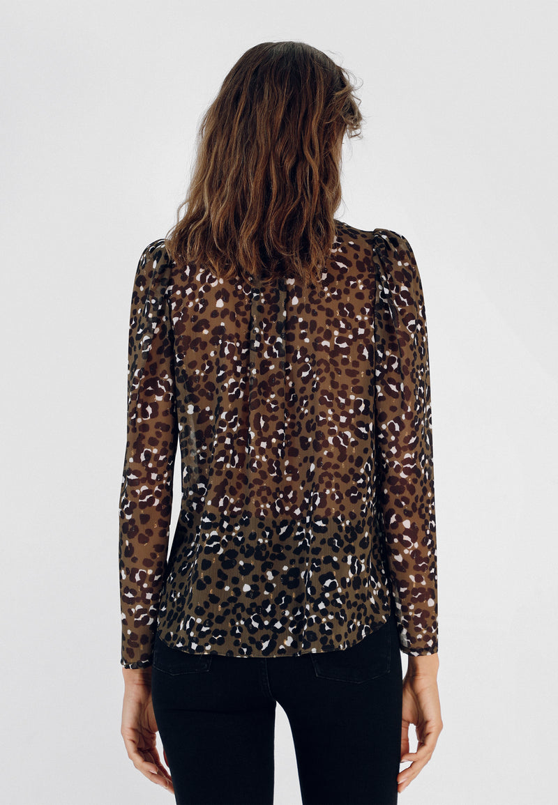 BLUSA SEMITRANSPARENTE ANIMAL PRINT