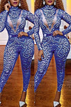 Pretty Long Sleeve High Neck Kitsch Print  One Piece Jumpsuit