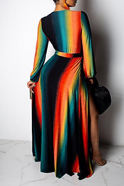 Striking Long Sleeve Deep V Neck Black Slit Long Maxi Dress