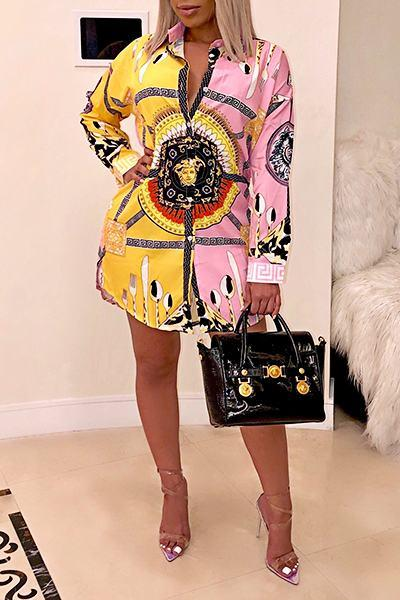 Graphic Print Long Sleeve Shirt Collar Unusual Short Dress