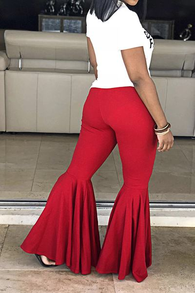 Feminine Medium Rise Slim Fit Plain Long Flared Pants