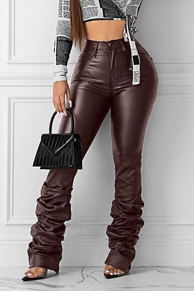 On-trend Medium Rise Skinny Fit Plain Bomber PU Pants