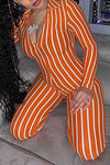Classic Long Sleeve V Neck Stripe Ankle-Length Zipper Jumpsuit