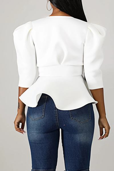 On-trend Leg-of-mutton Sleeve Collarless Solid Color Bow Top