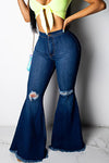 Chic High Rise Bell Bottoms Distressed Regular Rips Jeans