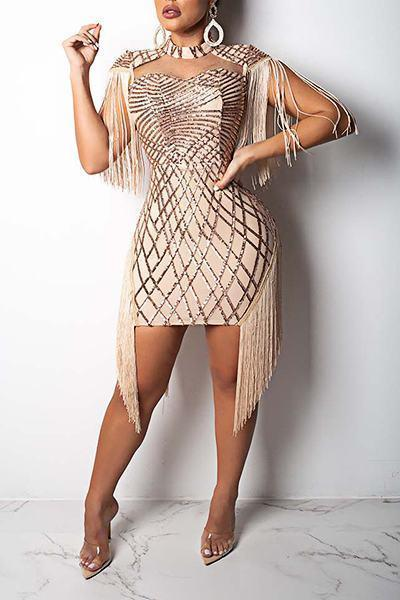 Patchwork Cap Sleeve Turtle Neck Party Sequinned Fringing Mini Dress