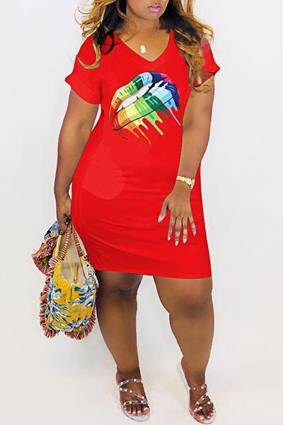 Laid Back Short Sleeve V Neck Colorful Lips Print Mini Dress
