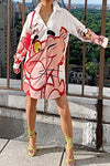 Sweet Long Sleeve Shirt Collar Pink Panther Print Shirt Dress