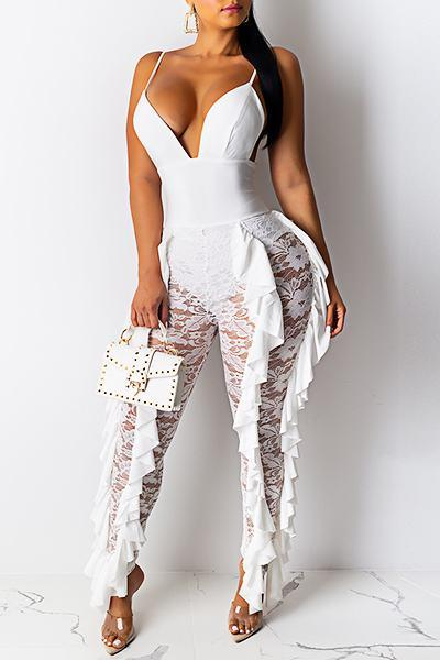 Glamorous Sleeveless Suspenders Patchwork Lace Princess Jumpsuit