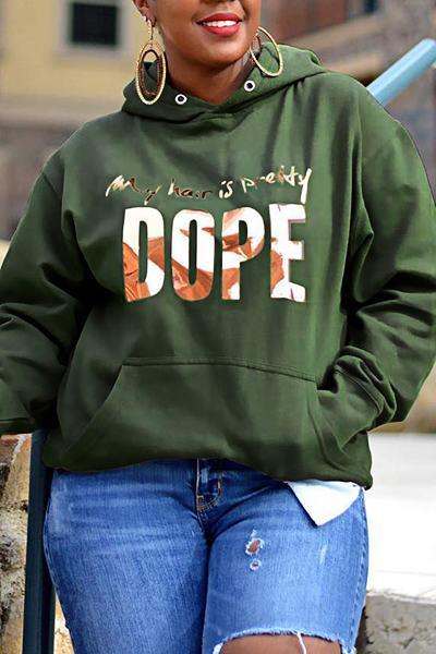 Basic Long Sleeve Hooded Slogan Leisurewear Track Top