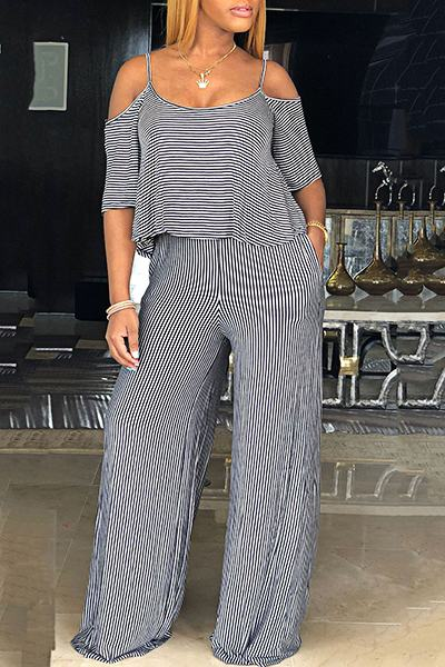 Striped Short Sleeve Cold Shoulder Casual Long Layered Jumpsuit